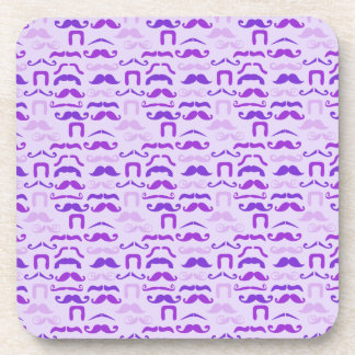 Violet Funny Mustache Coasters