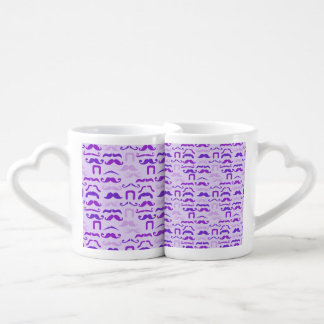 Violet Funny Mustache Coffee Mug Set
