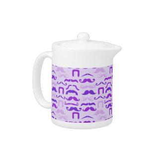 Violet Funny Mustache Teapot