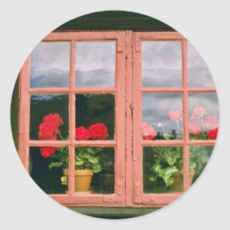 Violet Geraniums In The Window Of A Traditional Ho Classic Round Sticker