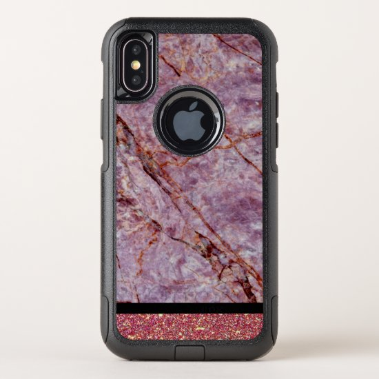 Violet Glitter Marble Pattern Otterbox iPhone Case