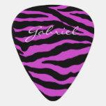 Violet Glitter Zebra Personalized Guitar Pick