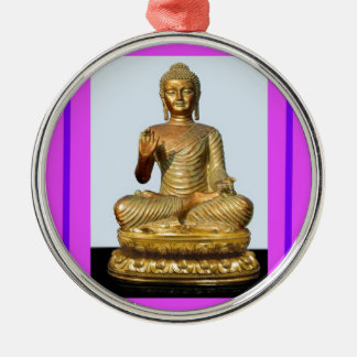Violet & Gold Buddha Statue by SHARLES Metal Ornament
