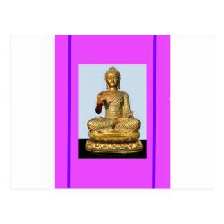 Violet & Gold Buddha Statue by SHARLES Postcard