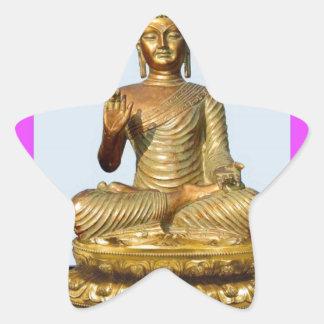 Violet & Gold Buddha Statue by SHARLES Star Sticker