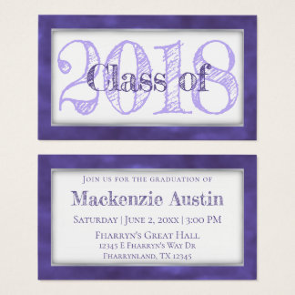 Violet Graduation Year | Royal Purple Announcement Business Card