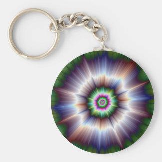 Violet Green and Blue Super Nova Basic Round Button Keychain