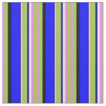 [ Thumbnail: Violet, Green, Black, Blue & White Colored Lines Fabric ]