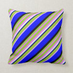 [ Thumbnail: Violet, Green, Black, Blue & White Colored Lines Throw Pillow ]