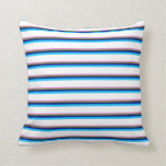 [ Thumbnail: Violet, Green, Blue, Deep Sky Blue & White Colored Throw Pillow ]