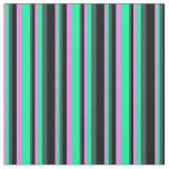[ Thumbnail: Violet, Green, Dark Slate Gray, and Black Stripes Fabric ]