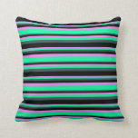 [ Thumbnail: Violet, Green, Dark Slate Gray, and Black Stripes Throw Pillow ]
