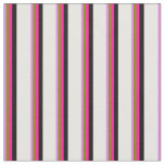 [ Thumbnail: Violet, Green, Deep Pink, Black & White Lines Fabric ]