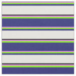 [ Thumbnail: Violet, Green, Midnight Blue, White & Black Lines Fabric ]