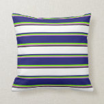 [ Thumbnail: Violet, Green, Midnight Blue, White & Black Lines Throw Pillow ]