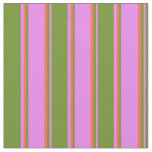 [ Thumbnail: Violet, Green & Red Colored Striped/Lined Pattern Fabric ]