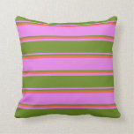 [ Thumbnail: Violet, Green & Red Colored Striped/Lined Pattern Throw Pillow ]