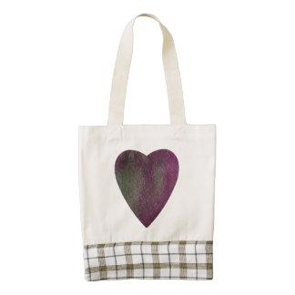 Violet Green Watercolor Heart Zazzle HEART Tote Bag