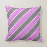 [ Thumbnail: Violet, Grey, and White Colored Stripes Pillow ]