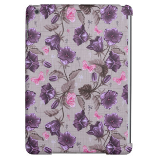 violet hand bells and pink butterflies pattern iPad air cover