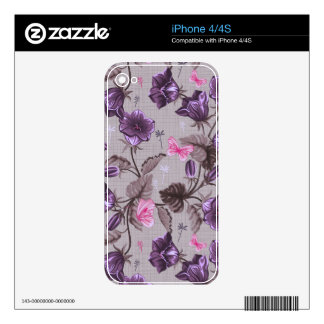 violet hand bells and pink butterflies pattern iPhone 4 decals