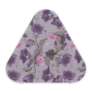 violet hand bells and pink butterflies pattern speaker