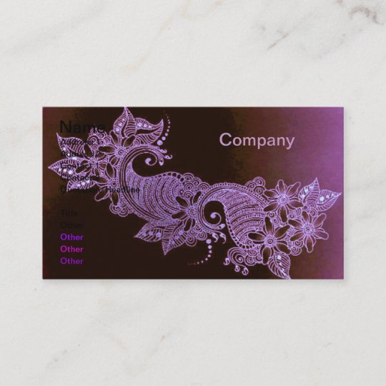 Violet Henna Mehndi Floral Business Card Zazzle Com