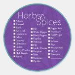 Violet Herbs & Spices Label Round Stickers