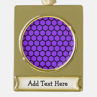 Violet Hexagon 4 Gold Plated Banner Ornament