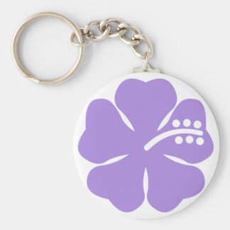 violet hibiscus aloha flower keychain