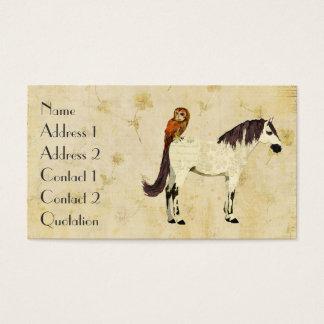 Violet Horse & Owl Cream Business Card