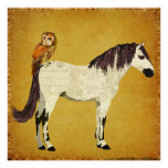 Violet Horse & Owl Poster