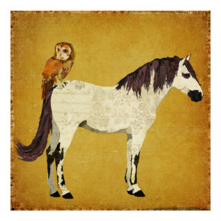 Violet Horse & Owl Poster at Zazzle