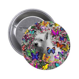 Violet in Butterflies Button -West Highland Westie