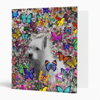 Violet in Butterflies – White Westie Dog 3 Ring Binder