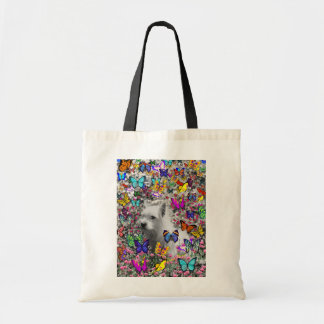 Violet in Butterflies – White Westie Dog Budget Tote Bag