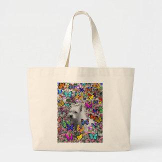 Violet in Butterflies – White Westie Dog Jumbo Tote Bag