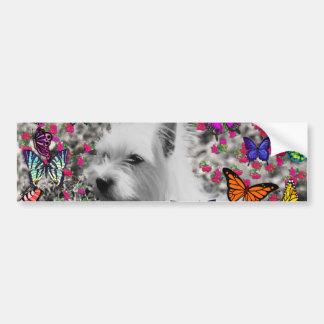 Violet in Butterflies – White Westie Dog Bumper Sticker