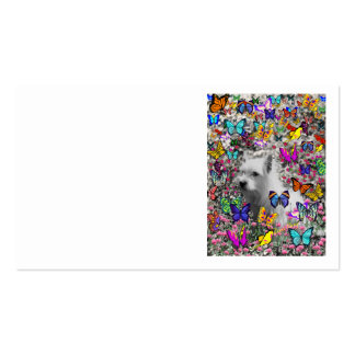 Violet in Butterflies – White Westie Dog Double-Sided Standard Business Cards (Pack Of 100)