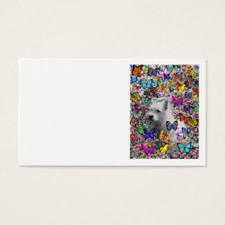 Violet in Butterflies – White Westie Dog Business Card