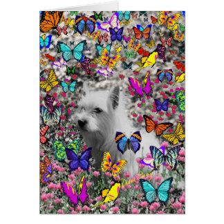 Violet in Butterflies – White Westie Dog Stationery Note Card