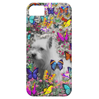 Violet in Butterflies – White Westie Dog iPhone 5 Cover
