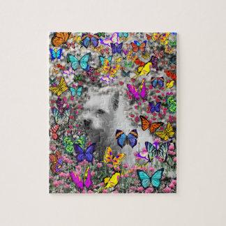 Violet in Butterflies – White Westie Dog Jigsaw Puzzle