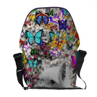 Violet in Butterflies – White Westie Dog Messenger Bags