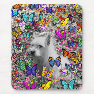 Violet in Butterflies – White Westie Dog Mouse Pad