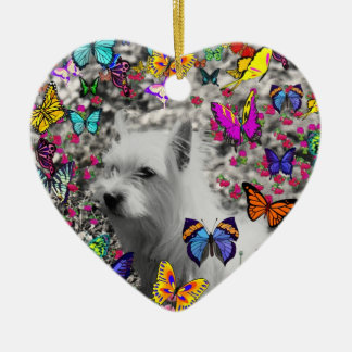 Violet in Butterflies – White Westie Dog Ornament
