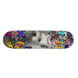 Violet in Butterflies – White Westie Dog Skateboard Deck
