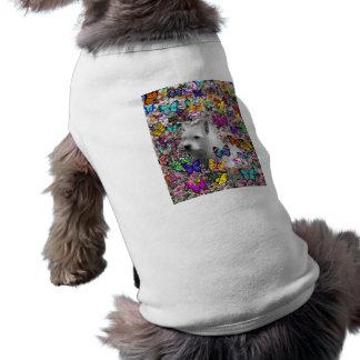 Violet in Butterflies – White Westie Dog T-Shirt