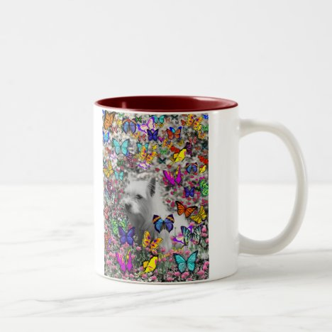 Violet in Butterflies – White Westie Dog Two-Tone Coffee Mug
