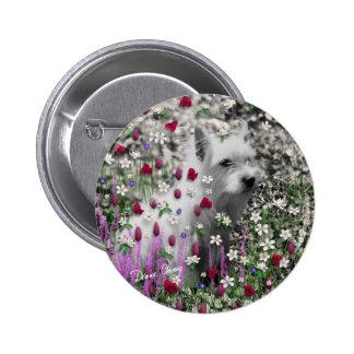 Violet in Flowers Button - West Highland Westie
